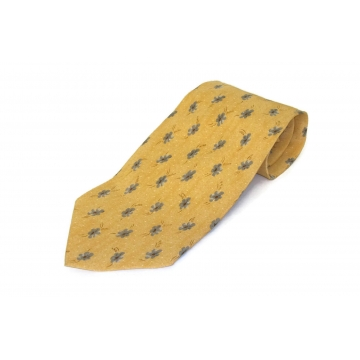 Vintage Joseph Abboud Silk Necktie Made in Italy Golden Yellow & Grey Men's Floral Tie Accessory  4 inch wide 57 inches long Spring Wedding Easter