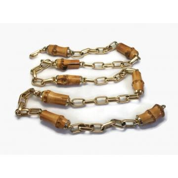 "Vintage Wood and Gold Chain Belt Unisex up to 35 1/2"" Belt for Woman or Man  Boho Fashion Belt  Chunky Bohemian Hippie Festival Dress Belt"
