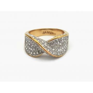 Lia Sophia Pave Rhinestone Ring Women Ladies U.S. Size 9 Gold Tone Band Clear Rhinestones Infinity Design Womens Ring
