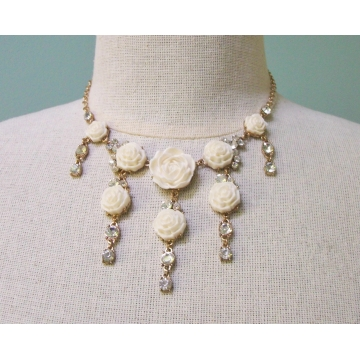 Floral Fringe Bib Necklace Cream White Roses Flowers and Clear Rhinestones Adjustable Gold Chain 13 to 18 Inches