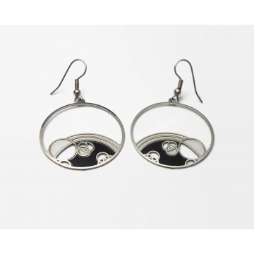 "Silver Tone Space Bubbles Dangle Hoop Hook Earrings Planets Geometric Black White Enamel Circles Drop Earrings 1 1/4"" Diameter"