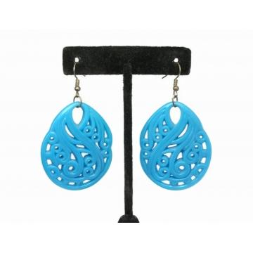 Big Blue Acrylic Dangle Earrings Large Plastic Abstract Water Drop Aqua Wave Drop Earrings Hook Earrings for Pierced Ears