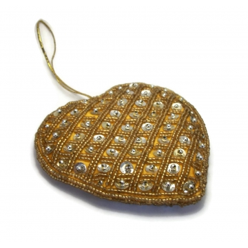 """Large 4 inch Sequin and Gold Seed Bead Heart Ornament  Big 4"""" Golden Yellow Soft Heart Sparkly Christmas Ornament"""