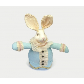 Vintage Hand Painted Fabric Resin & Paper Bunny Rabbit Art Doll with Weighted Bottom Display Figurine Easter Decor White Rabbit