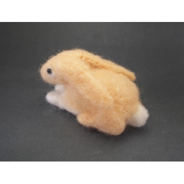 Needlefelted Bunny Soft Sculpture Small Needle Felted Rabbit  Handmade Needle Felt Woodland Animal Tan and White Easter Decor