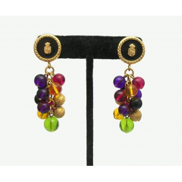 Vintage Liz Claiborne Crest Shield Drop Earrings with Colorful Bead Cluster Dangles Black Gold Purple Green Yellow Fuchsia Signed LCI