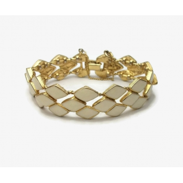 Vintage Signed Vendome Cream White Enamel and Gold Bracelet with Safety Chain Geometric Diamonds Pattern Mid Century Jewelry 7 1/2 inch