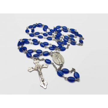 """Vintage Plastic Blue Catholic Rosary Beads with Crucifix Cross and Virgin Mary Centerpiece Long 24"""" Lightweight Prayer Beads"""