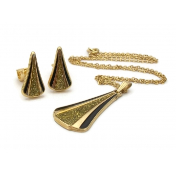 Vintage Gold and Black Enamel Modernist Triangle Pendant Necklace & Clip On Earrings Set Sparkly Glittery Geometric Modern Jewelry