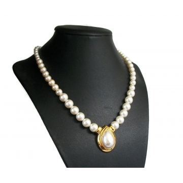Vintage Napier Faux Pearls Gold Tone Teardrop Collarbone Necklace 18 Inch Single Strand Gradated Pearls  Pear Shaped Cabochon