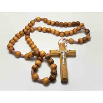 Vintage Jerusalem Olive Wood Rosary Beads Wooden Crucifix with Silver Tone Metal Five Decade Rosary