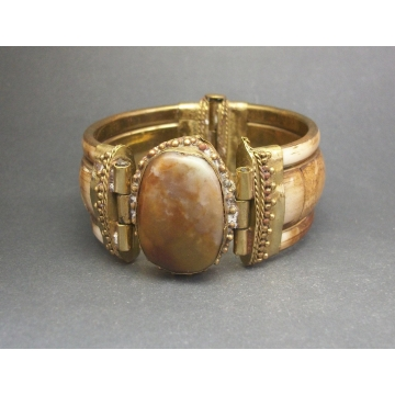 "Vintage Chunky Brass and Bovine Bone Inlay Hinged Bangle Bracelet Brown Stone Tribal Jewelry Wide Bracelet 2 3/8"" Diameter Unisex Men Women"