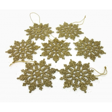 Vintage Gold Glitter Snowflake Christmas Ornaments Set of 7 Seven Big Sugared Plastic 3 1/2 inch Large Frosted Snowflakes Holiday Home Decor