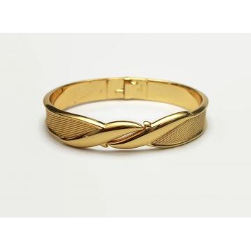 Vintage Monet Clamper Bracelet Gold Tone Metal Hinged Bangle Textured Gold Women's Bracelet