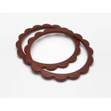 Vintage Sienna Brown Plastic Bangles Scalloped Edge Set of Two Thin Bangle Bracelets