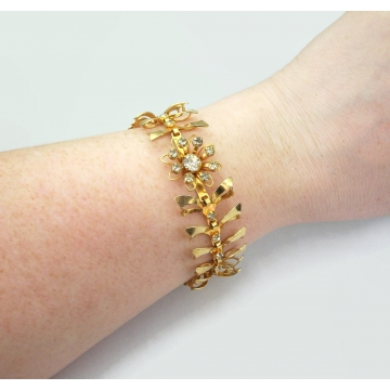 Vintage Ornate Gold Bracelet with Clear Crystals  Openwork Bows Ribbon Design  Rhinestone Formal Elegant Mid Century Jewelry