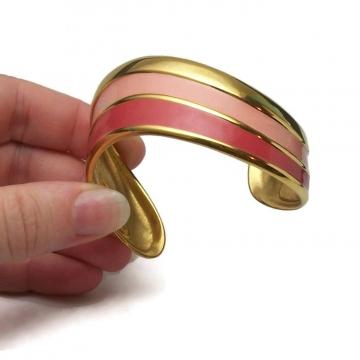 Vintage Napier Asymmetrical Cuff Bracelet Rose Pink and Salmon Enamel & Gold Tone  Two Tone Pink Signed Vintage Jewelry Avant Garde