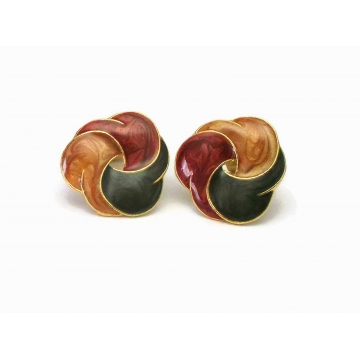 """Vintage Enamel Swirl Clip on Earrings Gold Tone with Green Amber and Maroon Red Enamel  1 1/8"""" Diameter Harvest Colors Summer Autumn Shades"""