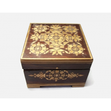 """Vintage Wood Inlay 3 1/2"""" Square Box Made in Russia Lined Purple Plush Interior Ornate Marquetry Design Hinged Lid Wooden Lidded Trinket Box"""