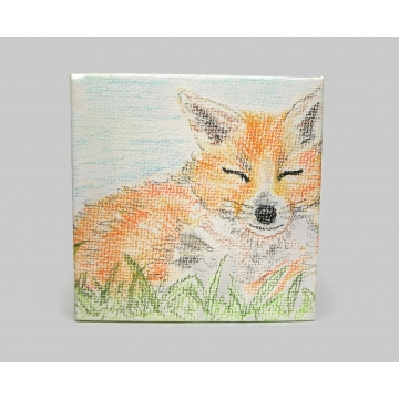 "Sleeping Fox Drawing on Miniature Canvas Colored Pencil Tiny Art Cute Wild Fox Small Mini Fox Original Pencil ""Painting"""