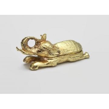 Vintage Miniature Gold Metal Elephant Trinket Box Novelty Tiny Decorative Trinket Box Elephant Shaped