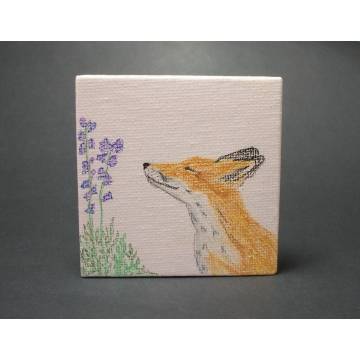 "Fox Drawing on Miniature Canvas  Colored Pencil Tiny Art  Cute Fox and Purple Flowers  Small Mini Fox Pencil ""Painting"" with Easel"