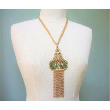 Vintage Crown Trifari 1960s Stunning Plique a Jour Peacock Necklace  Long Gold Tone 60s Statement Jewelry Gold Chain Fringe  Poured Enamel