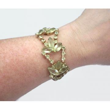 "Vintage Juliana D&E Delizza and Elster Peridot or Citrine Rhinestone Bracelet Size 7 1/4"" Long  Mid Century Designer Jewelry"