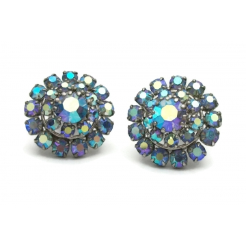 Vintage 1950s Blue AB Crystal Clip On Earrings Made in Austria 50s Ice Blue Purple Aurora Borealis Rhinestone Signed Mid Century Jewelry Wedding Earrings